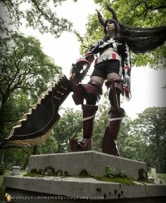 Here is my Black Gold Saw cosplay from the anime Black Rock Shooter My Black, Black Gold, That Look, Take That, Black Rock Shooter, Homemade Costumes, Anime Costumes, Mystery, Cosplay