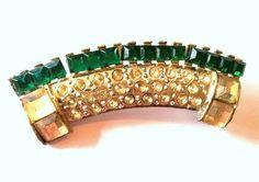 Deep Emerald Green Art Deco Rhinestone Pin circa 1930s - Dorothea's Closet Vintage