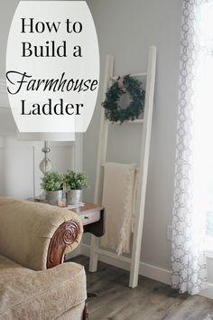 Monthly DIY Challenge: How to Build a Farmhouse Style Blanket Ladder | Joy in Our Home