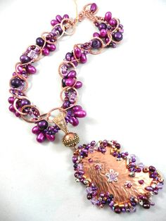 Copper and Purple - Jewelry creation by Madalynne Homme Purple Jewelry, Copper Jewelry, Wire Jewelry, Metal Jewelry Making, Wire Crafts, Necklaces, Bracelets, Wire Wrapped Jewelry, Wire Wrapping