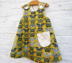 As the Crow Flies & Co - Yellow & Grey Butterfly Pinafore Dress handmade