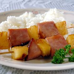 "Ham and Pineapple Kabobs I ""Delicious, simple dinner paired with rice. The Kids LOVED it and we plan to make it a regular."""