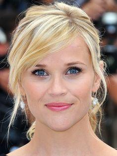 side-swept bangs, side bangs, hair up-do, casual hairstyle, Reese Witherspoon, Reese Witherspoon hairstyle