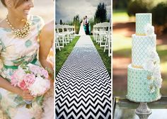printed aisle runner, tiered cake AND brides maid dress