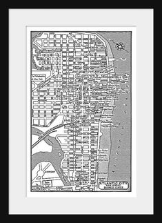 Atlantic City -  Vintage Map of Downtown Atlantic City Print Poster