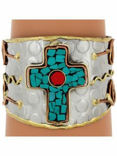 Turquoise & Coral Mosaic Cross Tri-Tone Cuff Bracelet