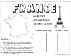 to Flavor: France France Coloring Sheet Color Activities, Activities For Kids, France For Kids, France Craft, Geography Lessons, France Flag, World Thinking Day, Daisy Girl Scouts, Girl Scout Crafts