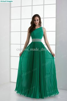 Mint Pleated A Line Prom Dresses One Shoulder Floor Length Beaded Belt Sequin Ruffle Zipper, Free shipping, $129.92-139.89/Piece | DHgate