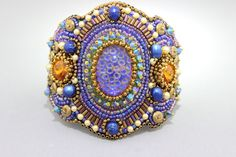 Beaded Jewelry Bead Embroidery Wide Statement Cuff