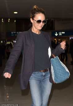 Always stylish: Vanessa looked effortlessly chic in a pair of bootcut jeans teamed with a ...