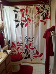 Ideas For A Red Bathroom. *Love It!! Similar To What I Was Thinking Of  Doing.