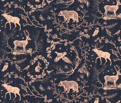 Buy Woodland Winter Toile (in Coal) custom fabric, wallpaper and home accessories by nouveau_bohemian on Spoonflower Toile Design, Design Textile, Fabric Wallpaper, Custom Wallpaper, Quirky Wallpaper, Bedroom Wallpaper, Chinoiserie, Woodland Fabric, Rico Design
