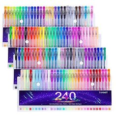 Laneco Medium-Point (0.8 mm), Non Toxic and Acid Free Coloring Gel Pen Set, 200 Count (100 Coloring Pens and 100 Ink Refills)