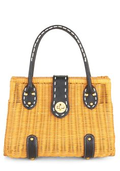 Weaving Presently Bag - Tan, Black, Solid, Studs, Trim, Woven, Casual, Beach/Resort, Nautical, Vintage Inspired