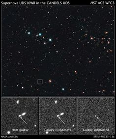 Hubble has recorded the most distant star explosion known. Supernova UDS10Wil exploded more than 10 billion years ago.