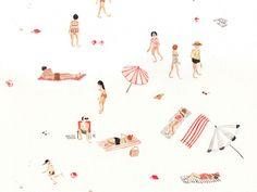 Minimalistic summer at the beach illustration by neverlaandss Art And Illustration, Pattern Illustration, Watercolor Illustration, Pretty Pictures, Art Inspo, Illustrators, Graffiti, Art Photography, Artsy