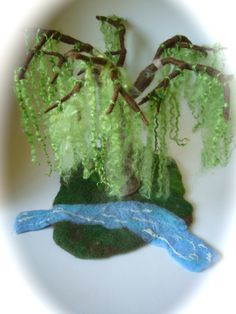 Felted Weeping birch. Playscape Play-mat  Landscape .Waldorf. Wet Felted.. $140.00, via Etsy.
