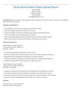 Sample Special Education Program Specialist Resume