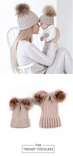 SALE 28% + FREE SHIPPING! SHOP Our Mommy + Me Pom Pom Hats