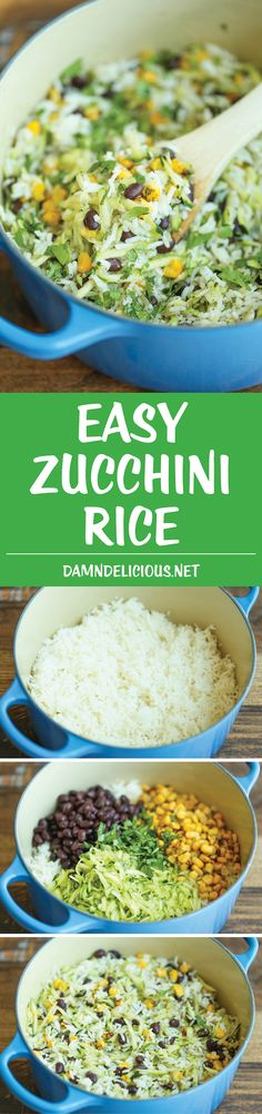 Zucchini Rice - A quick and easy side dish thats not only fr.- Zucchini Rice – A quick and easy side dish thats not only fresh healthy and hearty but it goes well with anything and everything! Side Dish Recipes, Vegetable Recipes, Vegetarian Recipes, Healthy Recipes, Vegan Zucchini Recipes, Chicken Recipes, Veggie Dishes, Food Dishes, Rice Dishes