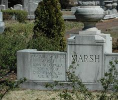 """The headstone and grave of Margaret Mitchell Marsh, author of """"Gone With the Wind"""", in historic Oakland Cemetery in Atlanta, Georgia; she died at Grady Hospital of injuries received when she was struck down by a speeding automobile on Peachtree Street Oakland Cemetery, Famous Tombstones, Cemetery Monuments, Old Cemeteries, Graveyards, Margaret Mitchell, Famous Graves, Gone With The Wind, Nature"""