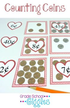 Teaching kindergarten and first grade students the skills needed for identifying, sorting, and counting  money can be challenging. Your kids will have fun matching the coins with their values in this fun center or small group activity. It focuses on pennies, nickels, dimes, and quarters. Grab this free printable game and add it to your lesson activities.
