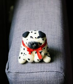 Felted dog Dalmatian  Needle felted toy  Felted animal