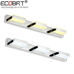 ECOBRT 12W LED Wall Lamps 3-lights in bathroom 50CM Indoor Wall Mirror Lighting Fixture Stainless Steel Acrylic decoration 220V
