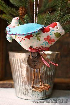 Adorable fabric bird ornament by design team member @Hilary S Kanwischer featuring the Fluffy Bird die by @Brenda Franklin Pinnick .