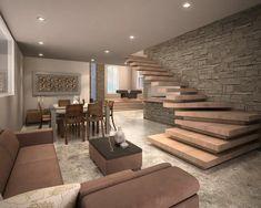 Home Stairs Design, Home Room Design, Dream Home Design, Interior Design Living Room, Room Interior, Modern House Plans, Modern House Design, Flat Design, Stairs In Living Room