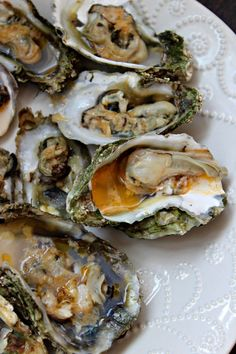 A simple, fresh, delicious baked oyster recipe adapted from P&J's by Oysters & Pearls. Best Seafood Recipes, Fish Recipes, Great Recipes, Favorite Recipes, Simple Recipes, Seafood Dishes, Fish And Seafood, Seafood Buffet, Gourmet