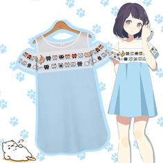 S/M/L Blue [Neko Atsume] Cute Kitty Shoulder-off Tee Shirt SP153160 - SpreePicky - 1