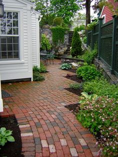 Pretty brick walkway & patio zig-zags with the house, creating interesting plant. - Pretty brick walkway & patio zig-zags with the house, creating interesting planting opportunities - Landscape Plans, Landscape Design, Garden Design, Landscaping Trees, Landscaping Company, Brick Patterns Patio, Brick Walkway, Traditional Landscape, Garden Paths