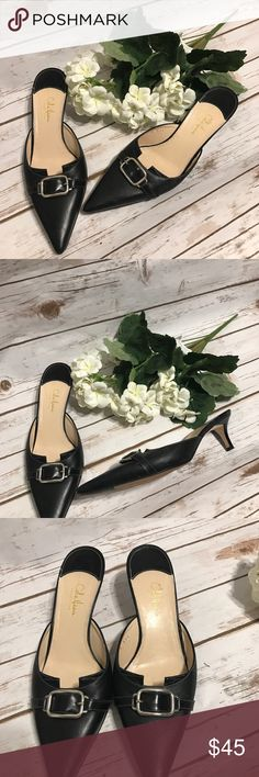 """Cole Haan Pointed Toe heels Cole Haan backless Pointed Toe 1"""" heels with buckle detail. Size 8. In awesome condition. Cole Haan Shoes Heels"""