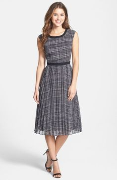 Halogen®+Print+Sunburst+Pleat+Dress+(Regular+&+Petite)+available+at+#Nordstrom