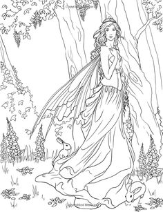 Here are the Interesting Coloring The Forest Fairy Coloring Page. This post about Interesting Coloring The Forest Fairy Coloring Page was posted . Coloring Pages For Grown Ups, Fairy Coloring Pages, Coloring Pages To Print, Printable Coloring Pages, Adult Coloring Pages, Coloring Sheets, Coloring Books, Tattoo Painting, Forest Fairy