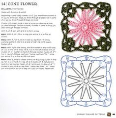 Tutorial: Crochet Flower Square.  Use for an afghan for the living room.