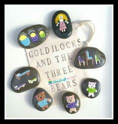 Goldilocks & The 3 Bears Story Stones by StoneCraftForYou on Etsy Pebble Painting, Pebble Art, Stone Painting, Rock Painting, Rock Crafts, Diy And Crafts, Arts And Crafts, Diy For Kids, Crafts For Kids