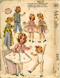 ORIGINAL Doll Clothes PATTERN 2270 for 17 inch Shirley Temple Lingerie Lou Ideal