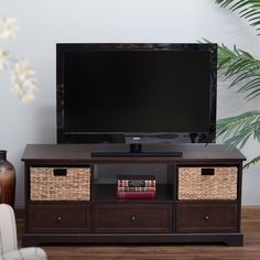 Belham Living Bradford TV Stand I like the combo of storage options -- open, baskets, and drawers.