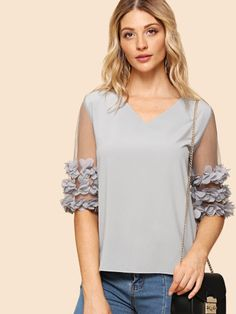 SheIn offers Mesh Sleeve Stereo Flowers Blouse & more to fit your fashionable needs. Grey Fashion, Fashion Design, Fashion Women, Elisa Cavaletti, Sleeves Designs For Dresses, Moda Chic, Plain Tops, Blouse Online, Mode Inspiration