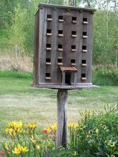 Birdhouse, Wood Birdhouse, Bird Feeder Made From Reclaimed Rustic Barn Wood, Bird House Garden Sculpture $320.00