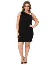 DKNYC Plus Size Gold Embellished Shoulder Draped Dress Black - 6pm.com