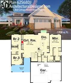 Architectural Designs 3 Bed Cottage House Plan 62568DJ gives you just over 1,700 sq. ft. of living space, a great front porch with a shed dormer above. Ready when you are. Where do YOU want to build?
