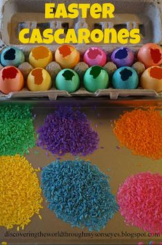 Easter cascarones (Mexican tradition to break confetti filled egg over person's head?) Empty egg shells - dye them. Add confetti (or rice or bird seed). Seal hole with tissue/paper (glue+water).