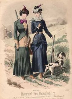 1880 Journal des Demoiselles. Hunting outfits, Victorian sportswear.