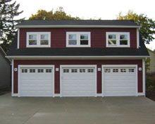 Custom Reverse Gable Garage with Shed Dormers Pole Barn Garage, Garage Doors, Shed Dormer, Downers Grove, Custom Garages, Dream Garage, Outdoor Structures, Sky, Building