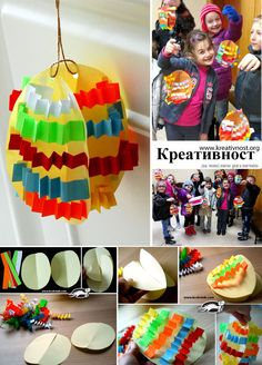 Easter eggs in paper Easter Art, Easter Crafts, Easter Eggs, Kindergarten Projects, In Kindergarten, Paper Crafts For Kids, Projects For Kids, Craft Activities, Preschool Crafts