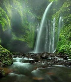 Sendang Gile and Tiu Kelep, Indonesia - 2 waterfalls form water stairs in a single flow