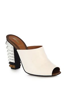Fendi Leather Spiked-Heel Mules~I LIKE THIS; WOULD WEAR IT TO WORK THOUGH!